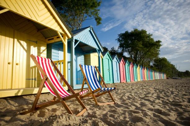 Deckchair and beach huts