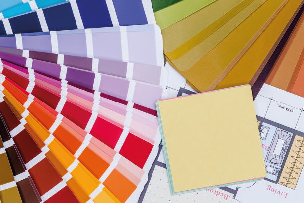 Paint swatches and blueprints