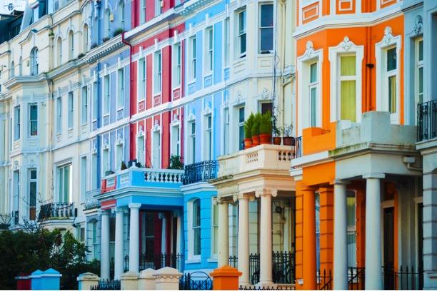 Colourful houses on Portobello Road